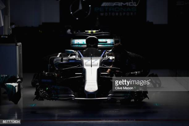 The garage of Valtteri Bottas of Finland and Mercedes GP at night during previews ahead of the Formula One Grand Prix of Japan at Suzuka Circuit on...