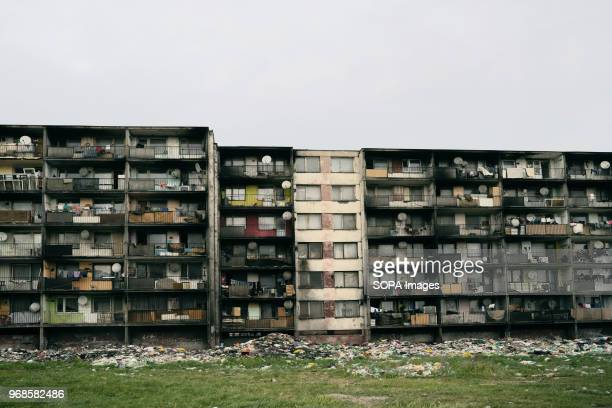 The garbage is piling up underneath the block of flats Lunik IX has a tremendous waste problem it is the biggest Roma settlement in Slovakia It is...