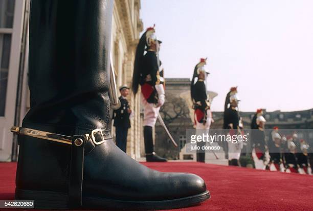 The Garde Republicaine or Republican Guard stationed outside the Hotel de Lassay residence of the President of the National Assembly