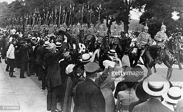 The GardeKurassier Regiment in Berlin leaving for the front ca August 1914