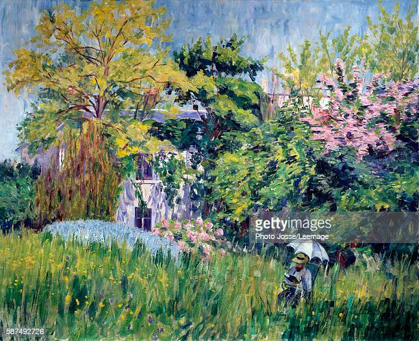 The garden at Bonnieres A reader under an umbrella in the tall grass Painting by Georgette Agutte 19091910 Oil on canvas 81 x 100 cm BeauxArts Museum...