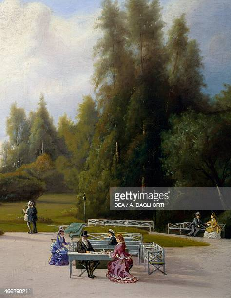 The garden in front of Kaivohuone restaurant painting by Johan Knutson Detail