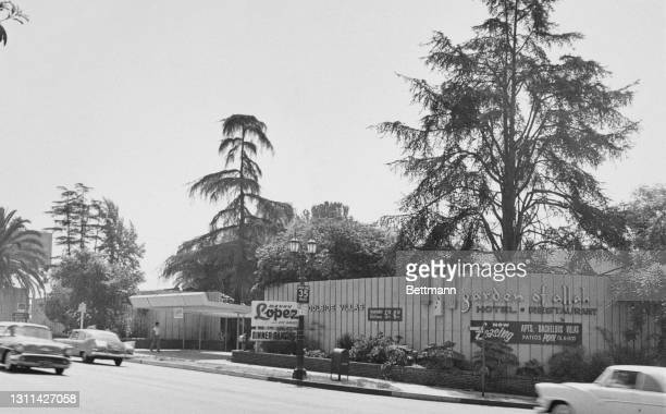 The Garden of Allah Hotel & Restaurant on Sunset Strip, a stretch of Sunset Boulevard, in West Hollywood, California, 24th September 1959. Within...