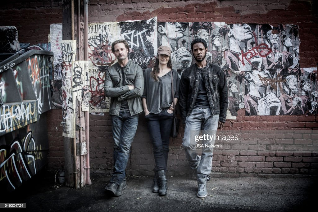 COLONY -- 'The Garden of Beasts' Episode 210 -- Pictured: (l-r) Josh Holloway as Will Bowman, Sarah Wayne Callies as Katie Bowman, Tory Kittles as Broussard --