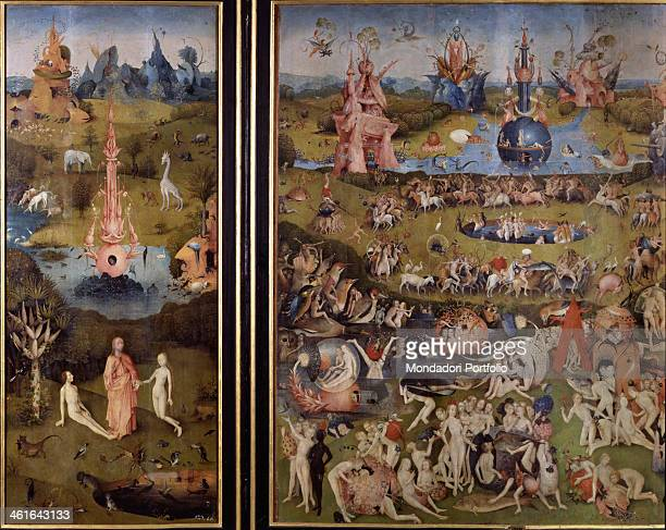 The Garden of Earthly Delights by Joren Anthoniszoon Van Aeken better known as Hieronymus Bosch 1500 1505 16th Century oil on board 220 x 390 cm...