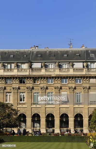 The garden of Palais Royal 1 st district in Paris Ile de France region France