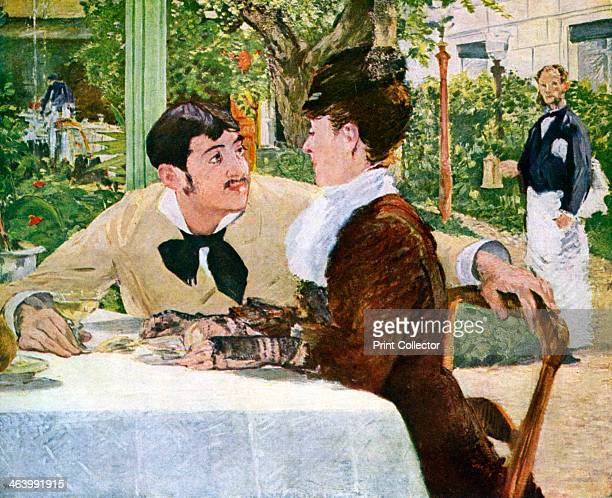 'The Garden of Pere Lathuille' 1879 Found in the collection of the Musee des BeauxArts Tournai Belgium Plate taken from Manet by Robert Rey published...