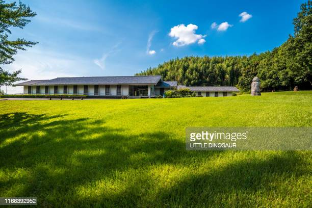 the garden of the asuka history museum. nara, japan - asuka stock pictures, royalty-free photos & images