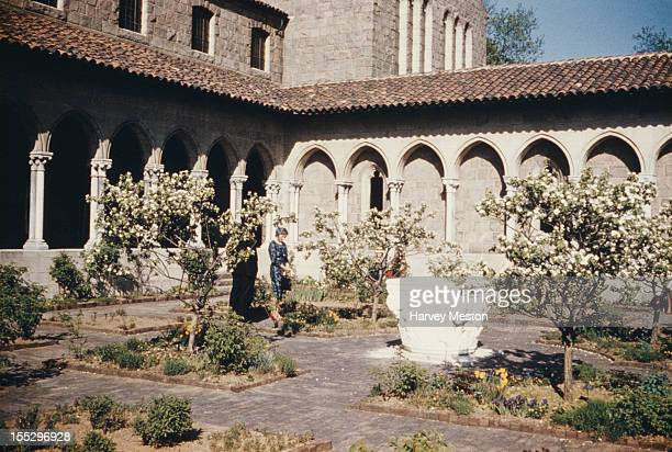 The garden of The Cloisters in Fort Tryon Park New York City circa 1960