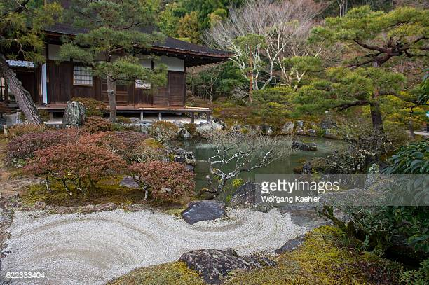 The garden of the Ginkakuji or Temple of the Silver Pavilion is a Zen temple in the Sakyo ward of Kyoto Japan