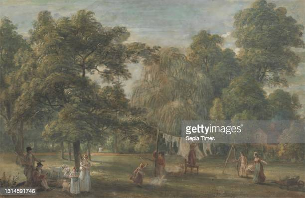 The Garden of Thomas Sandby's House at Englefield Green near Windsor, Paul Sandby RA, 1731–1809, British, ca. 1800, Watercolor and gouache over...