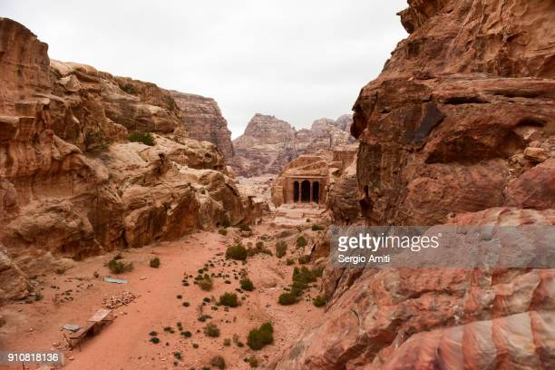 the garden temple in wadi farasa, petra. - sandstone stock pictures, royalty-free photos & images