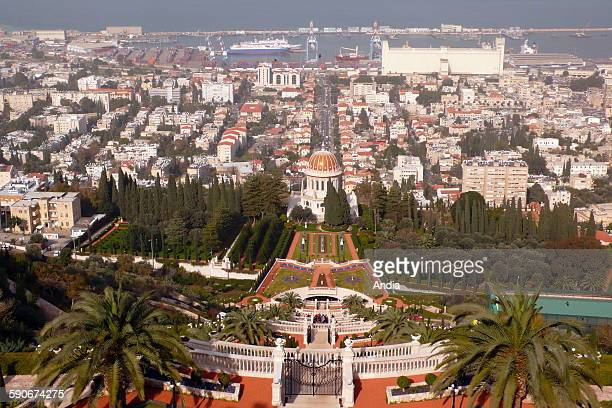 The gardens of the Baha'i World Centre and the Bab Mausoleum in Haifa in Israel