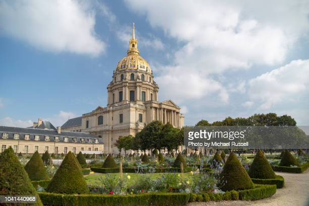 the gardens of the hotel des invalides, paris, france, horizontal - les invalides quarter stock photos and pictures