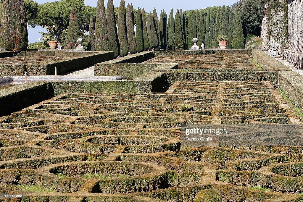 The gardens of the Pontifical residence of Castelgandolfo are seen on February 20, 2013 in Rome, Italy. The Apostolic Palace and The Ponifical Villas of Castelgandolfo, 10 miles south Rome, are the summer residence of Popes and will host Pope Benedict XVI during the next conclave.