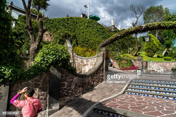 the gardens on tepeyac hill above the basilica of our lady of guadalupe mexico city - basilica of our lady of guadalupe stock pictures, royalty-free photos & images