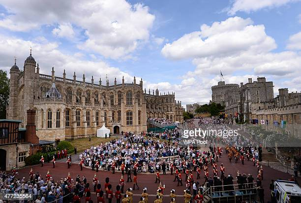 The Garter Procession makes its way to St George's Chapel for the annual Order of the Garter Service at Windsor Castle on June 15 2015 in Windsor...