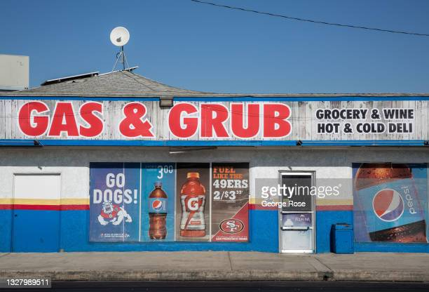 The Gas & Grub grocery store and gas station on Highway 65 is viewed on July 8 in Exeter, California. Due to a lack of rain and snow in the Sierra...