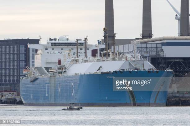 The Gaselys liquefied natural gas tanker sits at the Engie SA Everett import terminal in Boston Massachusetts US on Sunday Jan 28 2018 The Gaselys...