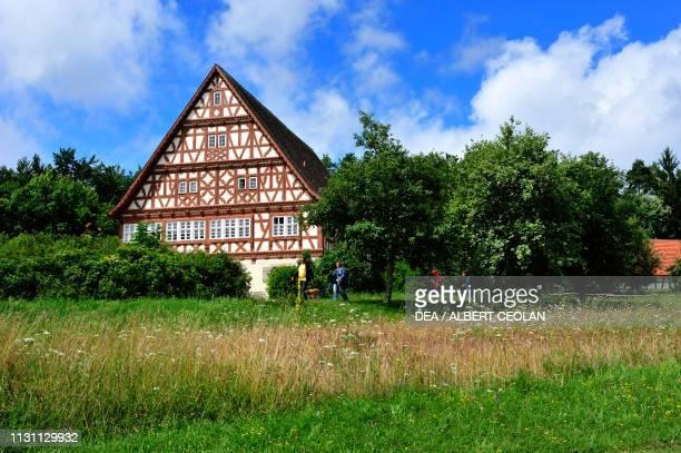 The Gasthaus Ochsen, typical house in the Freilichtmuseum, rural open-air museum in Neuhausen ob Eck, Baden-Wurttemberg, Germany.