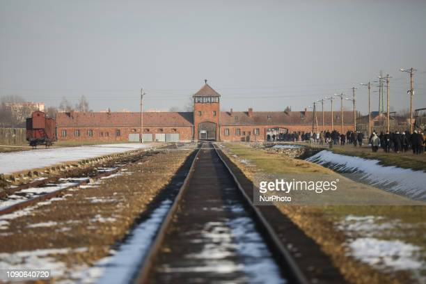The Gate of Death at the former Nazi-German Auschwitz-Birkenau concentration and extermination camp in Oswiecim, Poland on January 27, 2019.