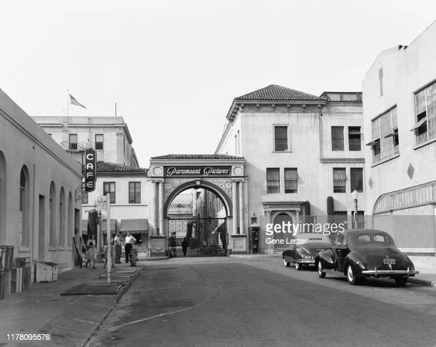 The gate of the Paramount Pictures Studios on Marathon Street in Los Angeles, California, 1947.
