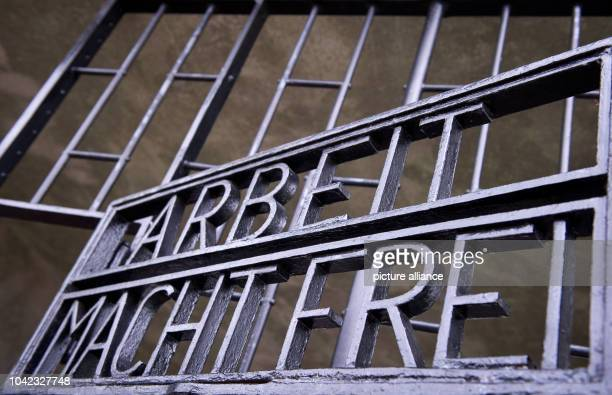 The gate reading 'Arbeit macht frei' during the ceremony to mark the 69th anniversary of the liberation of Sachsenhausen and Ravensbrueck...