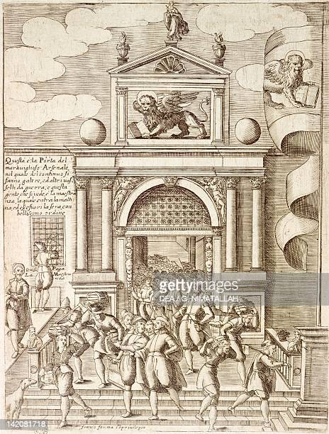 The gate to the Arsenal in Venice by Giacomo Franco , engraving from Costumes of Venetian Men and Women. Italy 17th Century.