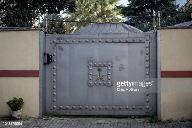 The gate to the garage entrance is seen at Saudi Arabia's consulate on October 10 2018 in Istanbul Turkey Fears are growing over the fate of missing...