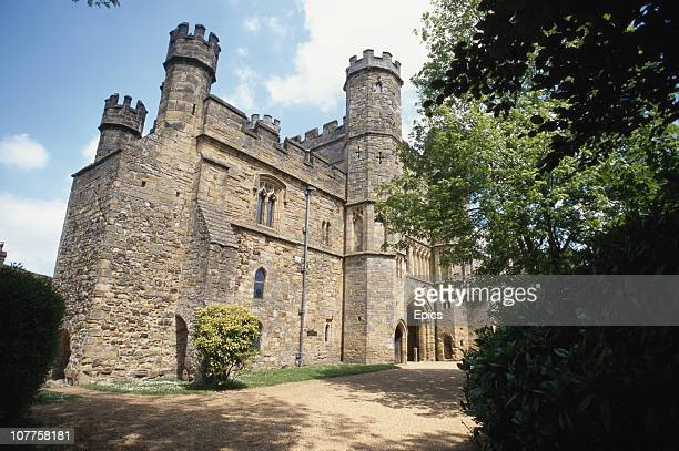 The gatehouse to the partial ruins of Battle abbey which was built on the scene of the Battle of Hastings Battle East Sussex April 1997