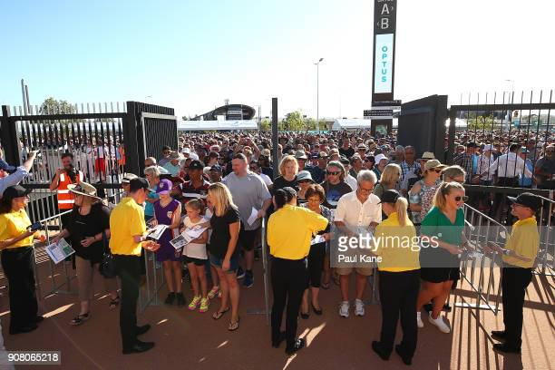The gates are open as the first visitors get their tickets scanned at Optus Stadium on January 21 2018 in Perth Australia The 60000 seat multipurpose...