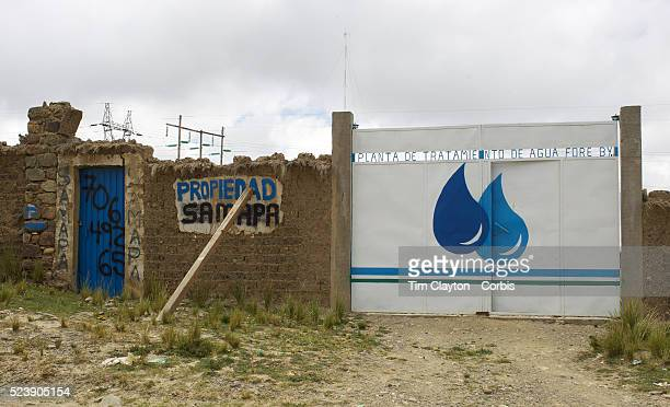 The gates of a private water treatment plant at Alto Lima, Bolivia. Climate change and the fast diminishing glaciers in the Andes are posing a...