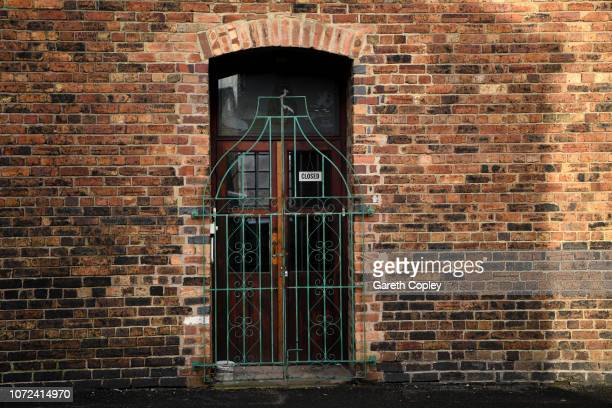 The gates of Heron Cross Pottery Fenton on October 25 2017 in Stoke on Trent England At the height of the Potteries industry the StokeonTrent skyline...