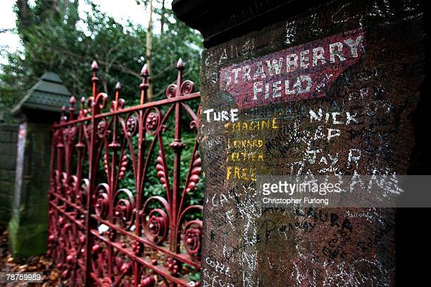 The gates of Strawberry Field in Liverpool immortalised by the Beatles song 'Strawberry Fields Forever' where John Lennon used to play as a child on...