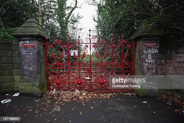 The gates of the former Salvation Army orphanage Strawberry Field immortalised by the Beatles song 'Strawberry Fields Forever' where John Lennon used...