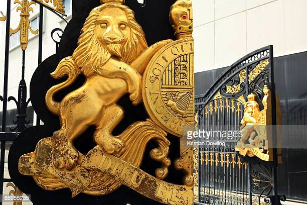 The gates to 'Neverland' for a press preview for Michael Jackson's Julien's Auctions Exhibit at Julien's Auctions on April 13 2009 in Beverly Hills...