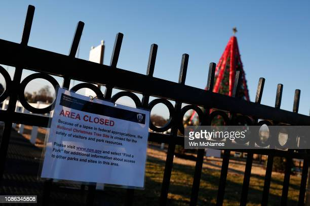 The gates to the National Christmas Tree are closed to the public due to a partial shutdown of the federal government on December 24 2018 in...