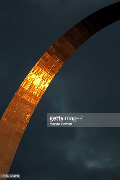 The Gateway Arch is seen prior to Game Two of the MLB World Series between the Texas Rangers and St Louis Cardinals at Busch Stadium on October 20...