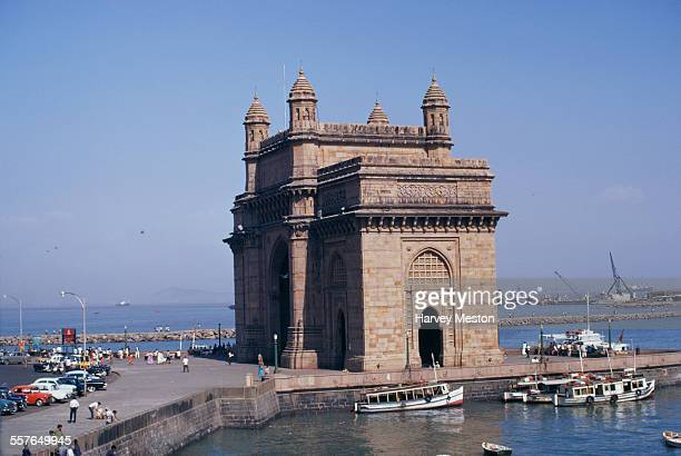 The Gateway of India a monument built during the British Raj in Mumbai Harbour Bombay India 1972