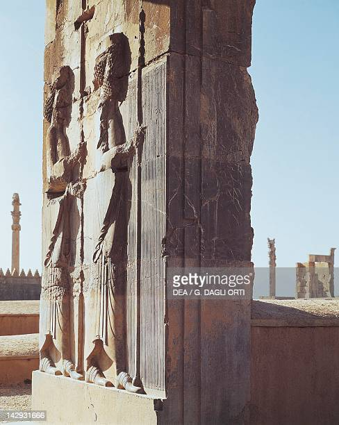 The gateway to the Courtyard of a Hundred Columns with its giant soldiers from the Achaemenid Guard from Darius Palace in Persepolis Iran Sassanid...