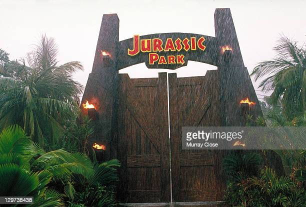 The gateway to the eponymous theme park from the film 'Jurassic Park' 1993
