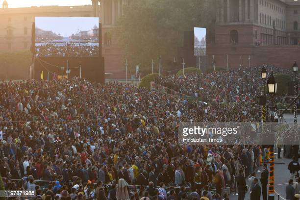 The gathered crowd seen during the Beating Retreat Ceremony at Vijay Chowk on January 29 2020 in New Delhi India It is an annual musical extravaganza...