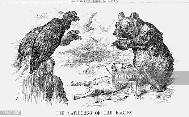 'The Gathering of the Eagles' 1877 The Russian Bear licks a cut on its paw as Turkey lies wounded on the ground Gathering around are the twoheaded...