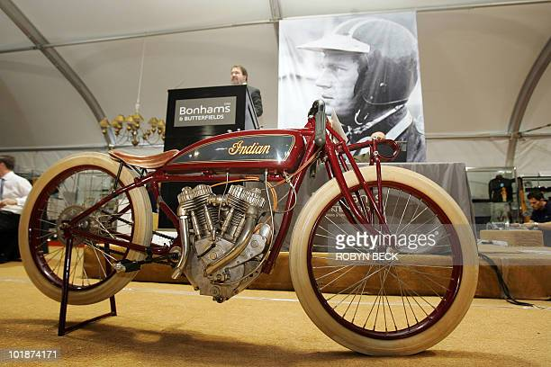 The gavel falls on a 1920 Indian Powerplus Daytona Racing Motorcycle from the Steve McQueen collection during an auction of items belonging to the...
