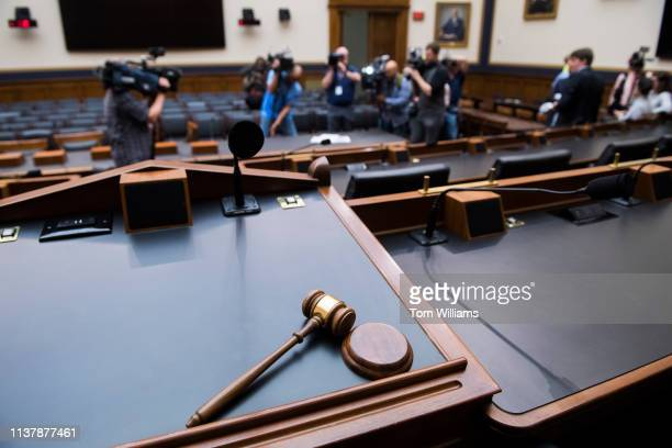 The gavel of chairman Jerrold Nadler DNY is seen as media films a few pages of special counsel Robert Mueller's report on Russian interference in the...
