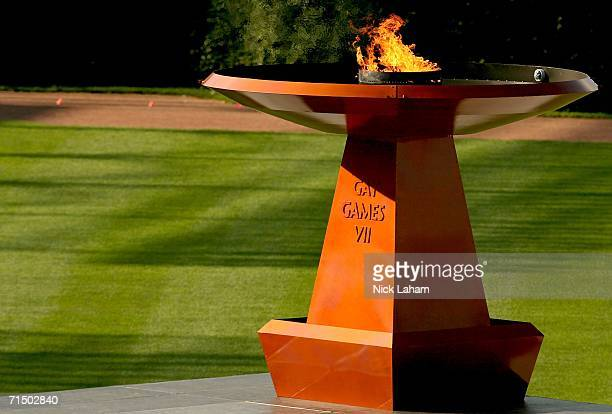 The Gay Games flame burns during the Closing Ceremony of the Gay Games VII at Wrigley Field on July 22 2006 in Chicago Illinois