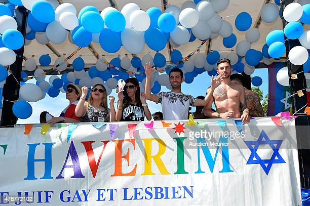 The gay Jew community dancers cheering at the crowd as thousands of people gather to support gay rights by celebrating during the Gay Pride Parade on...