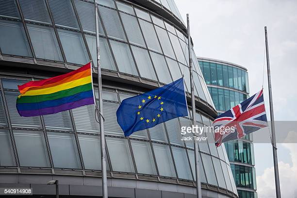The gay pride flag the European flag and the Union Jack are flown at half mast outside City Hall following the death of Jo Cox on June 17 2016 in...