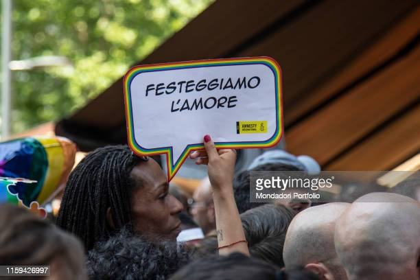 The Gay Pride in Milan The first time it was addressed to celebrate 50 years since the events of Stonewall in New York. Milan , 29 June 2019