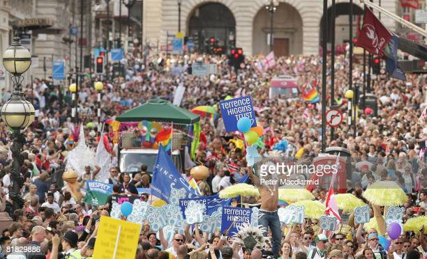 The Gay Pride parade passes down Lower Regent Street on July 5 2008 in London The parade consists of celebrities floats and performers celebrating...